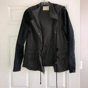 Utility Canvas Jacket w/ Faux Leather Sleeves